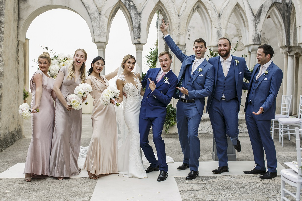 Isabella and Peter Wedding in Amalfi bride and groom with bridesmaids and bestmen
