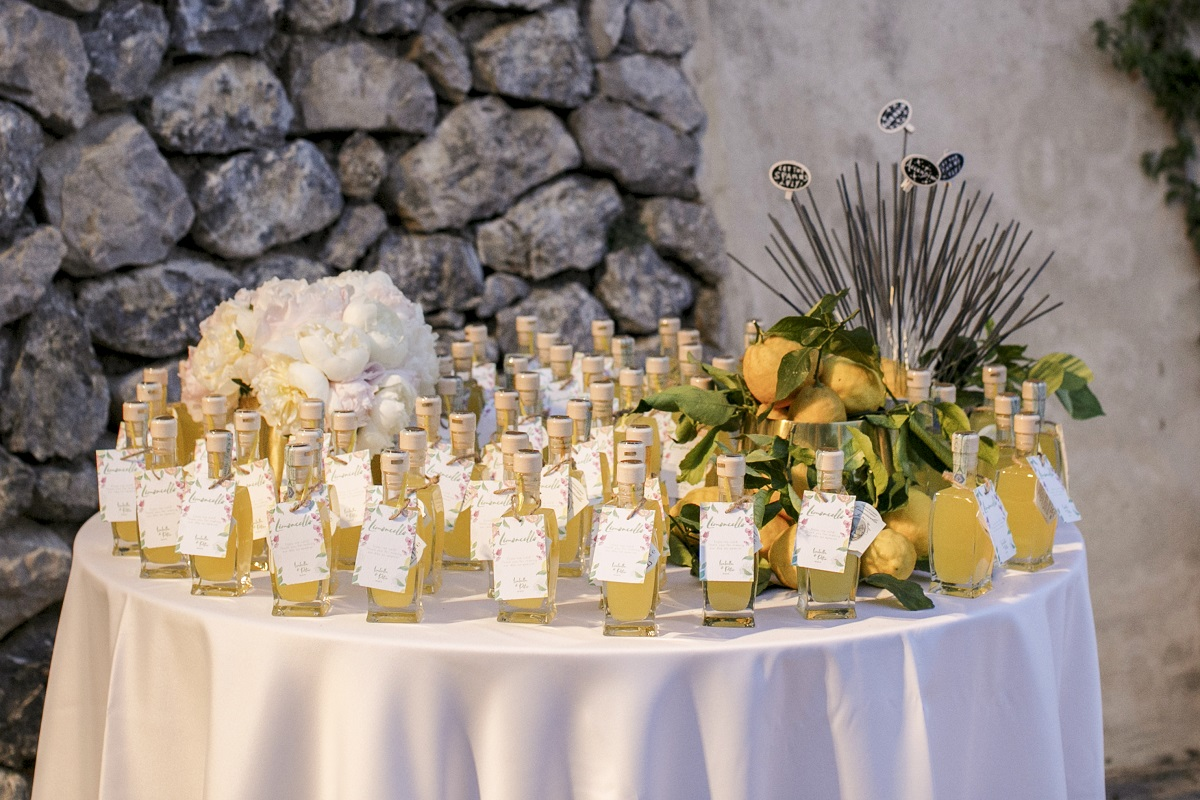 Isabella and Peter Wedding in Amalfi limoncello bottles wedding favors