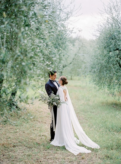 Olive-themed wedding - bride and groom