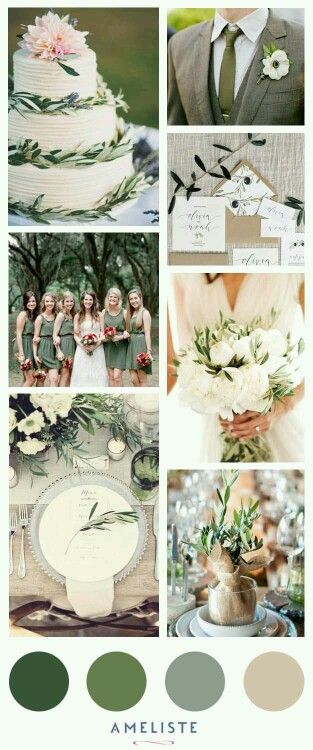Olive-themed wedding - color palette