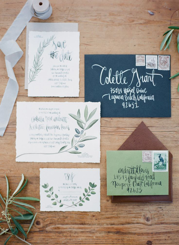 Olive-themed wedding - invitations