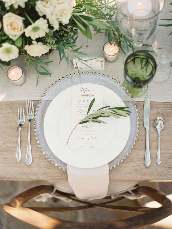 Olive-themed wedding - table setting