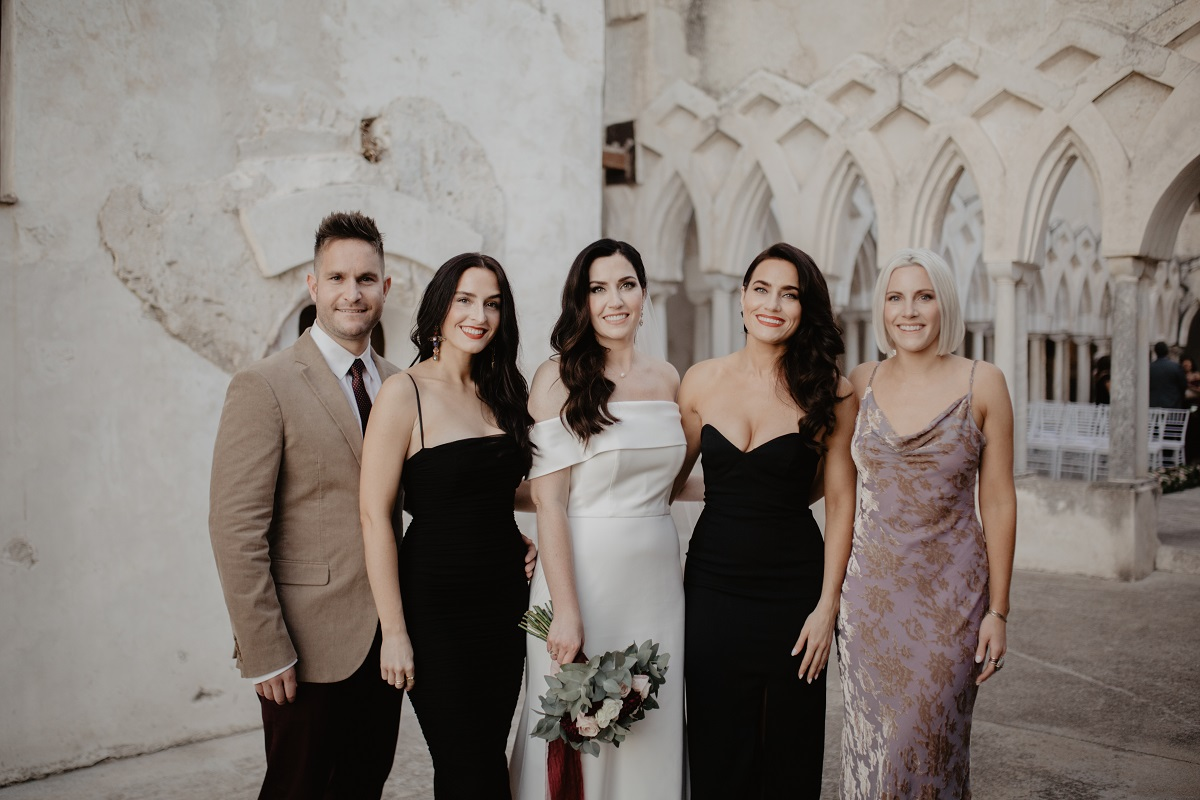 Shannon and Ross Wedding in Amalfi - the bride and her sisters