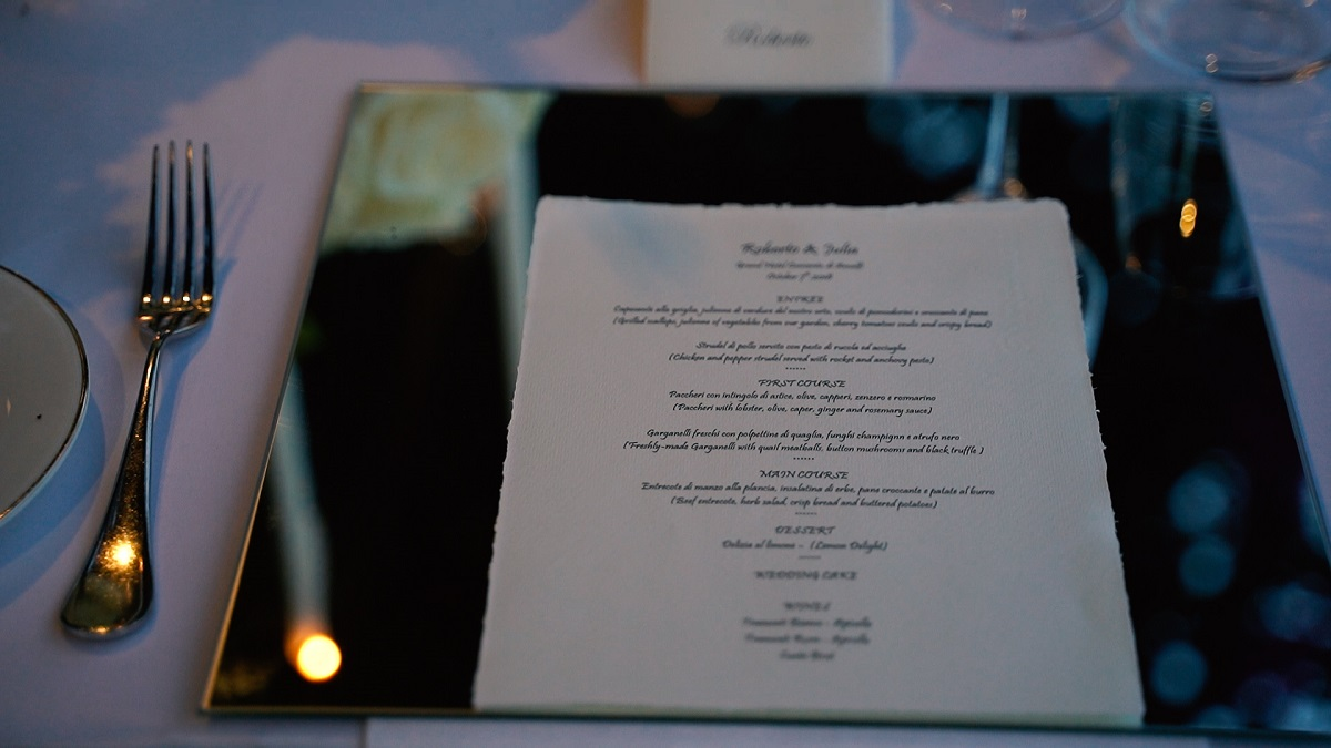 Robert and Julia wedding menu