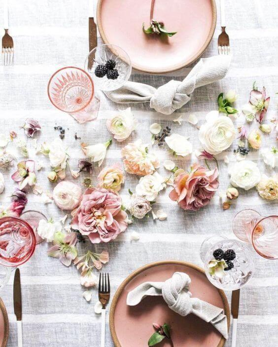 Easter lunch setting idea inspiration pink