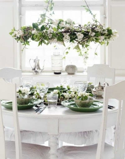 Easter lunch setting idea inspiration with green